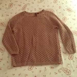 Cynthia Rowley tan 3/4 sleeve Crochet Sweater